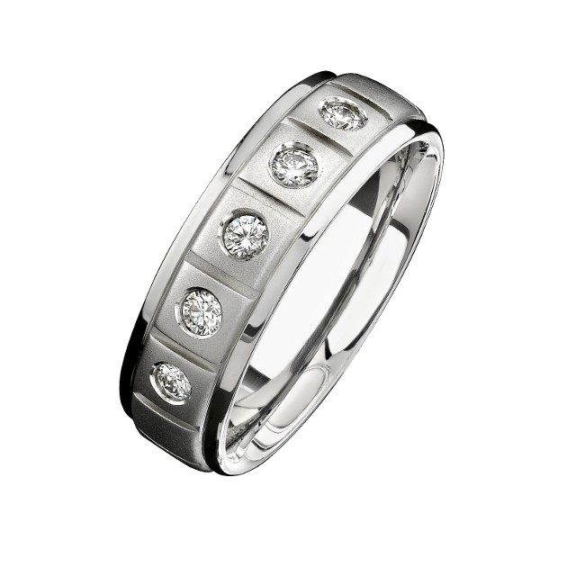 14k White Gold Five Stone Matte Finish Diamond Men's Band - NK15386-W