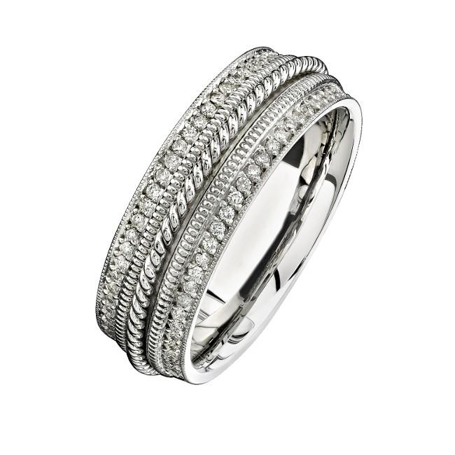 14k White Gold Pave Diamond Edge Men's Band - NK15470-W