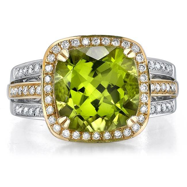 14k White and Yellow Gold Halo Peridot Ring NK16137P-WY