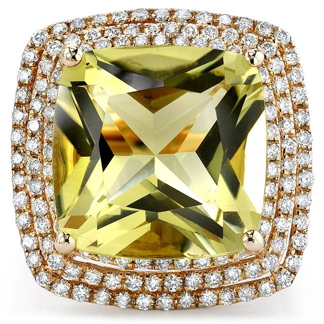 14k Yellow Gold Lemon Quartz and Diamond Cocktail Ring NK16716LQ-Y
