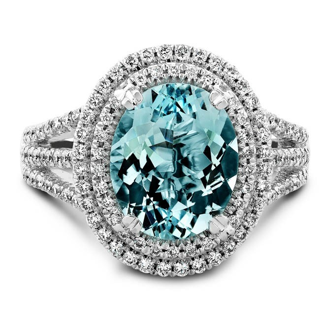 14k White Gold Split Shank Micro Pave Aquamarine Diamond Ring - NK17221AQUA