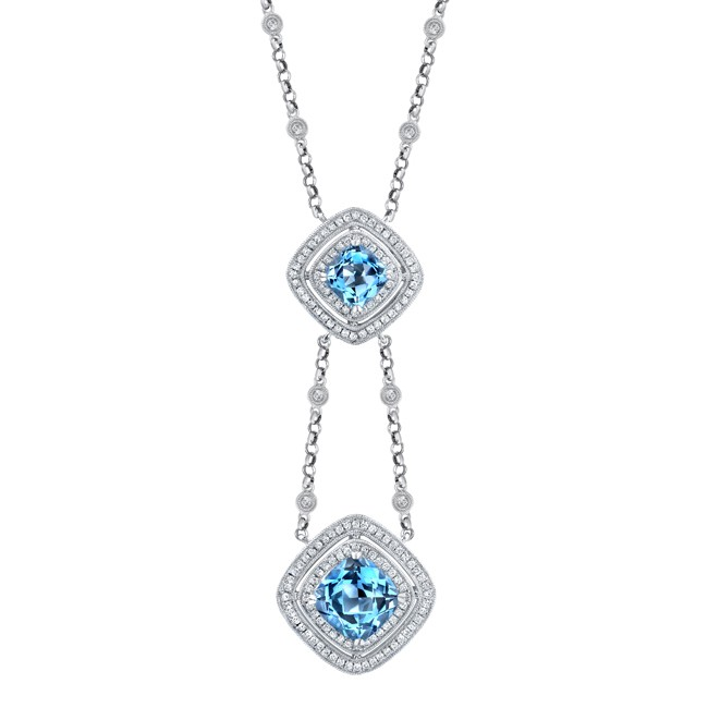 14k White Gold Pave Bezel Blue Topaz Diamond Necklace - NK17352BT-W