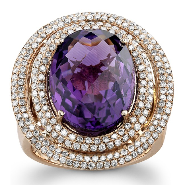 14k Rose Gold Amethyst Golden Diamond Ring - NK17634AM-R
