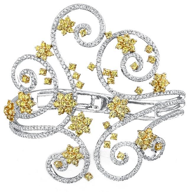 18k White and Yellow Gold Swirl Pave Prong Ladies Diamond Bangle NK18050GD-WY