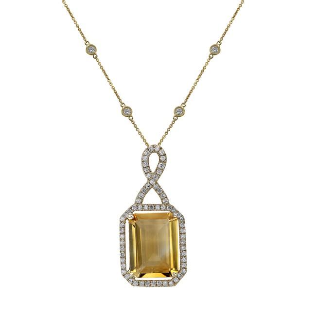 14k Yellow Gold Citrine Diamond Necklace NK19375CT-Y