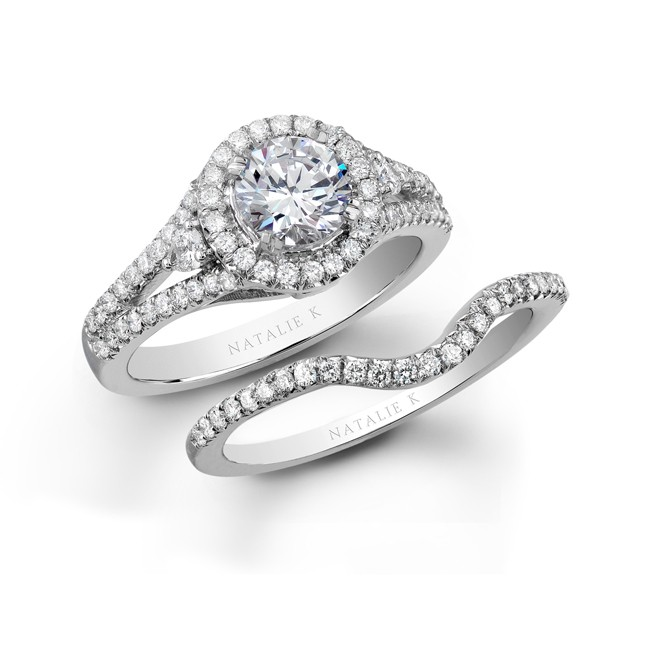 18k white gold three stone halo diamond bridal ring set - Halo Wedding Ring Set
