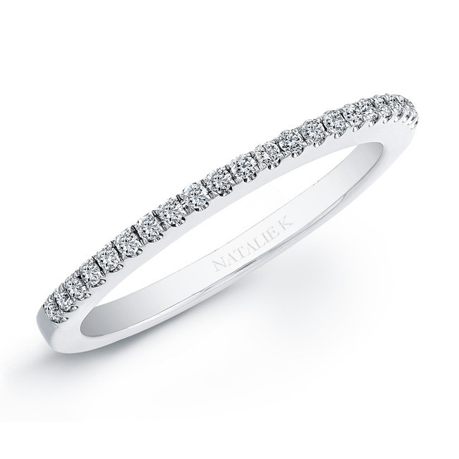 14k White Gold Micro Prong Diamond Wedding Band NK20401WED-W