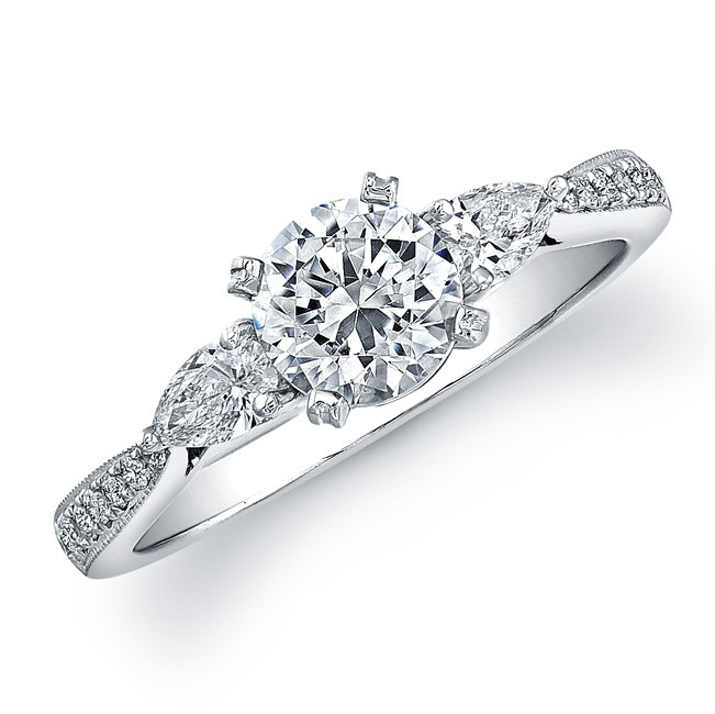 14k White Gold Micro Pave Diamond Engagement Ring - NK20507ENG-W