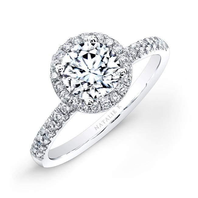 18k White Gold Pave Diamond Halo Engagement Ring