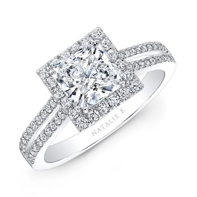18k white gold split shank square halo diamond engagement ring - Square Wedding Ring