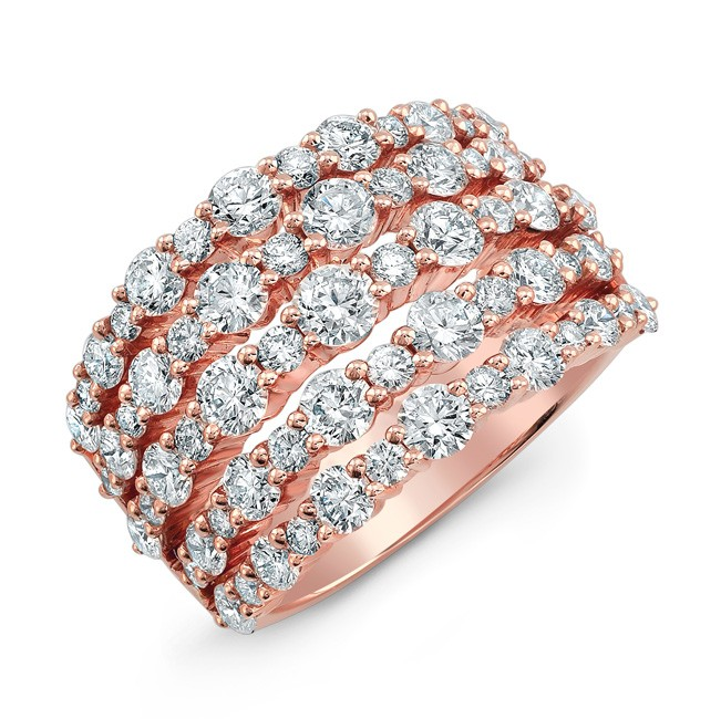 18K Rose Gold White Diamond Five Row Fashion Band