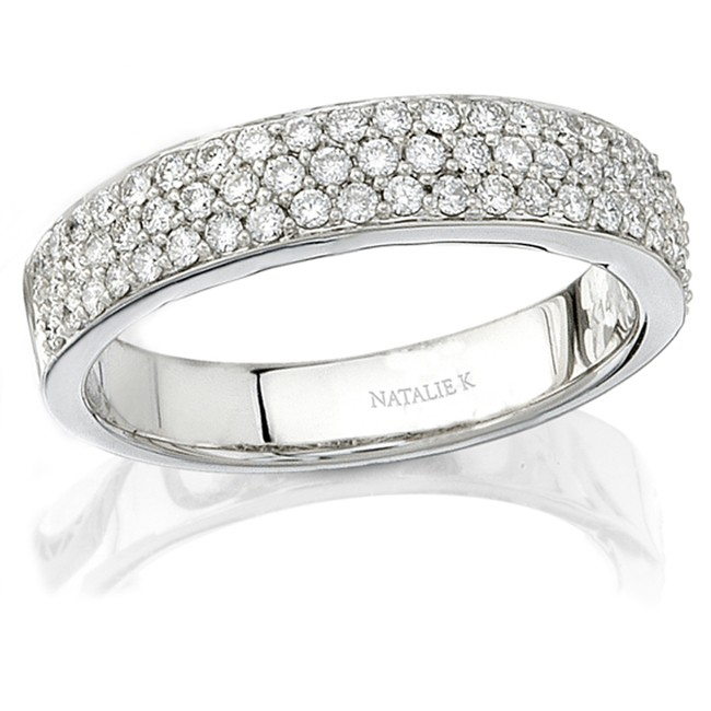 18k White Gold Halo Pave Diamond Wedding Band NK9166WED-W