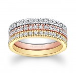 14k White Yellow and Rose Gold White Diamond Stackable Bands