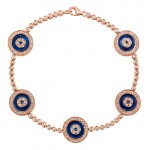 14k Rose Gold 5 Evil Eye Diamond Tennis Bracelet