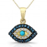 14k Yellow Gold Mini Evil Eye Diamond Pendant