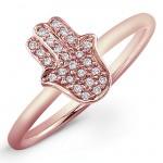 14k Rose Gold Pave Diamond Hamsa Ring