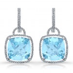 14k White Gold Blue Topaz Fashion Earrings