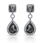 14k White Gold Black Diamond Rustic Drop Earrings