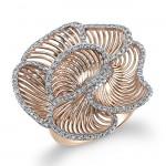 14k Rose Gold Wire Diamond Flower Ring