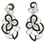 14k White and Black Gold Black Diamond Flower Drop Earrings