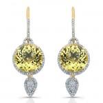 14k Yellow Gold Round Lemon Quartz Diamond Earrings