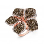 14k Rose Gold Brown and White Diamond Flower Ring