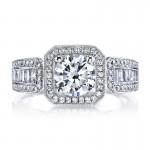 MARS 25098  Diamond Engagement Ring 0.27 Ct Rd, 0.38 Ct Bg.