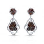 14k White Gold Rose-Cut Diamond Sliver and White Diamond Earrings