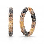 18k Rose Gold with Black Rhodium Pave Black, Brown, and Golden Diamond Hoop Earrings