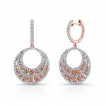 18k Rose Gold Brown Diamond Circle Drop Earrings