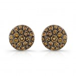 14k Rose and Black Gold Brown Diamond Circle Stud Earrings