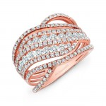 18K Rose Gold Multi Band Fashion Band