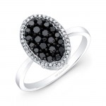 14k Black and White Gold Black Diamond Oval Ring