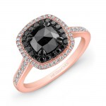 14k Rose and Black Gold Double Halo Rose-cut black Diamond Center Engagement Ring