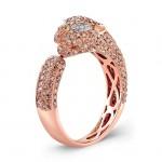 14k Rose Gold Brown Diamond Panther Statement Ring