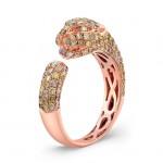 14k Rose Gold Mixed Fancy Yellow Diamond Panther Statement Ring