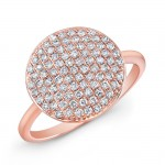 14k Rose Gold White Diamond Circle Fashion Ring