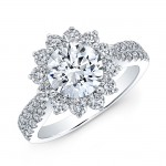 18K White Gold White Diamond Starburst Halo Tapered Shank Engagement Ring