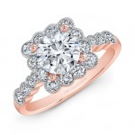 18K Rose Gold White Diamond Bezel Set Square Halo Engagement Ring