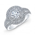 18K White Gold White Diamond Triple Halo Engagement Ring