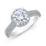 18k White Gold White Diamond Halo Elongated Shank Engagement Ring