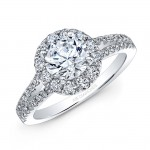 18k White Gold White Diamond Halo Split Shank Engagement Ring