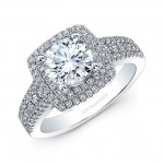 18k White Gold White Diamond Square Double Halo Engagement Ring