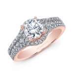18K Rose Gold White Diamond Engagement Ring