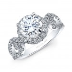 18k White Gold White Diamond Halo Linked Shank Engagement Ring