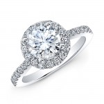 18k White Gold White Diamond Halo Bezel Set Profile Engagement Ring