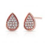 14k Rose Gold Diamond Teardrop Earrings