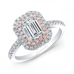 14k White and Rose Gold Double Halo Diamond Engagement Ring for Emerald Cut Center