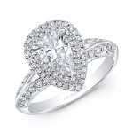 14k White Gold Double Diamond Halo Engagement Ring for Pear-Shape Center