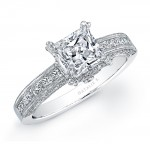 18k White Gold Princess Cut Diamond Engagement Semi Mount Ring